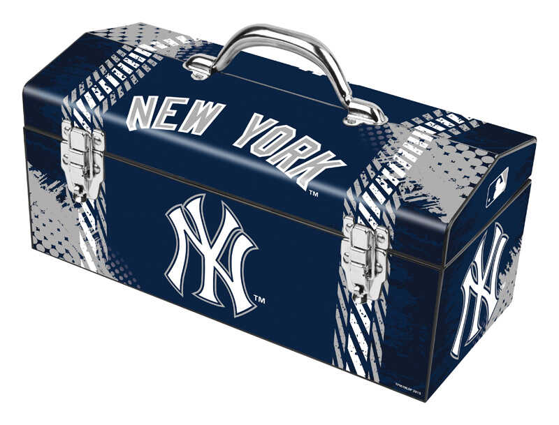 Windco  16.25 in. Steel  New York Yankees  Art Deco Tool Box  7.1 in. W x 7.75 in. H Blue/Gray