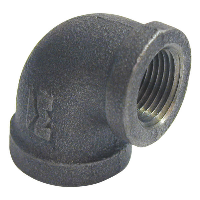 B & K  1 in. FPT   x 3/4 in. Dia. FPT  Black  Malleable Iron  Reducing Elbow