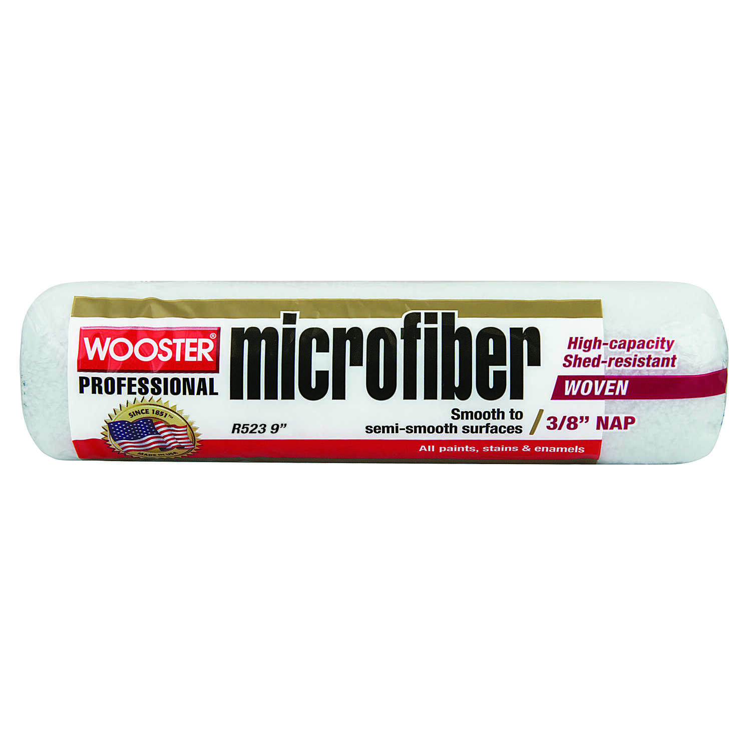 Wooster  Microfiber  Microfiber  3/8 in.  x 9 in. W Paint Roller Cover  For Semi-Smooth Surfaces 1 p