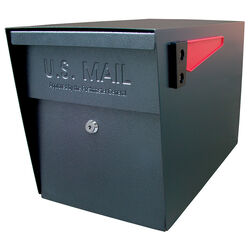 Mail Boss Mail Boss Modern Galvanized Steel Post Mount Black Locking Mailbox