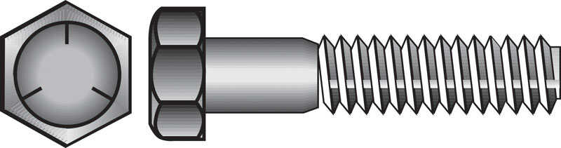 Hillman  3/8 in. Dia. x 1-1/4 in. L Heat Treated Zinc  Steel  Hex Head Cap Screw  100 pk