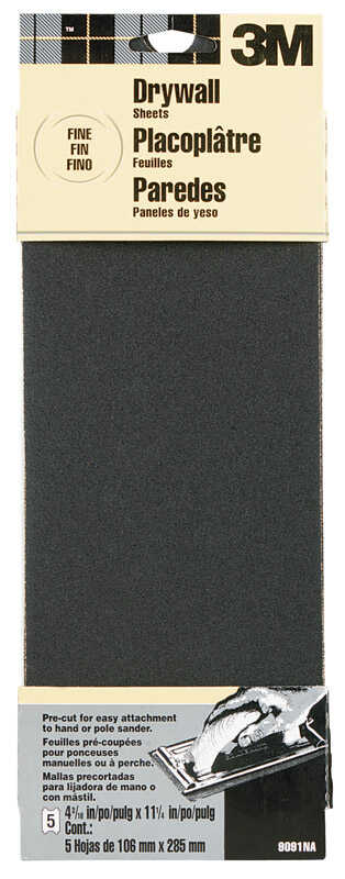 3M  11-1/4 in. L x 4-3/16 in. W 150 Grit Fine  Silicon Carbide  Sandpaper  5 pk