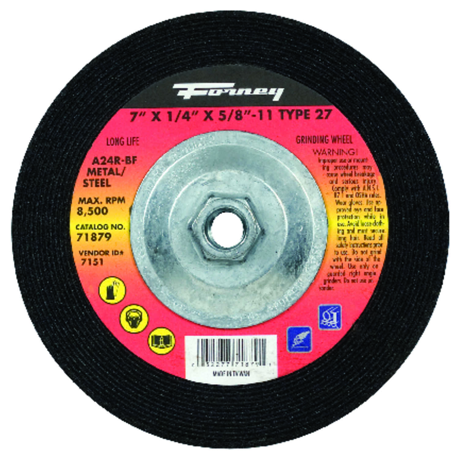Forney  7 in. Dia. x 1/4 in. thick  x 5/8 in.   Aluminum Oxide  Metal Grinding Wheel  8500 rpm 1 pc.