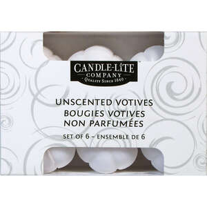 Candle-lite  No Scent Scent White  Votive  Candle  3.16 in. H x 2.5 in. Dia.