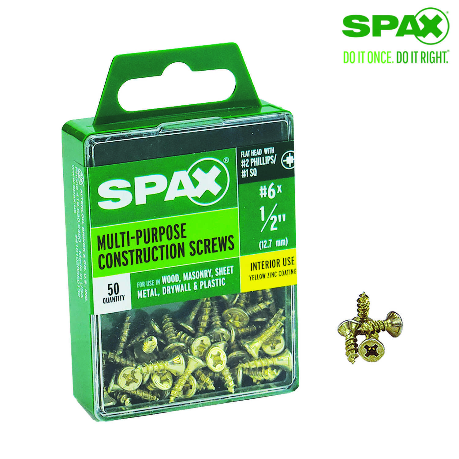 SPAX  No. 6   x 1/2 in. L Phillips/Square  Flat  Yellow Zinc  Steel  Multi-Purpose Screw  50 each