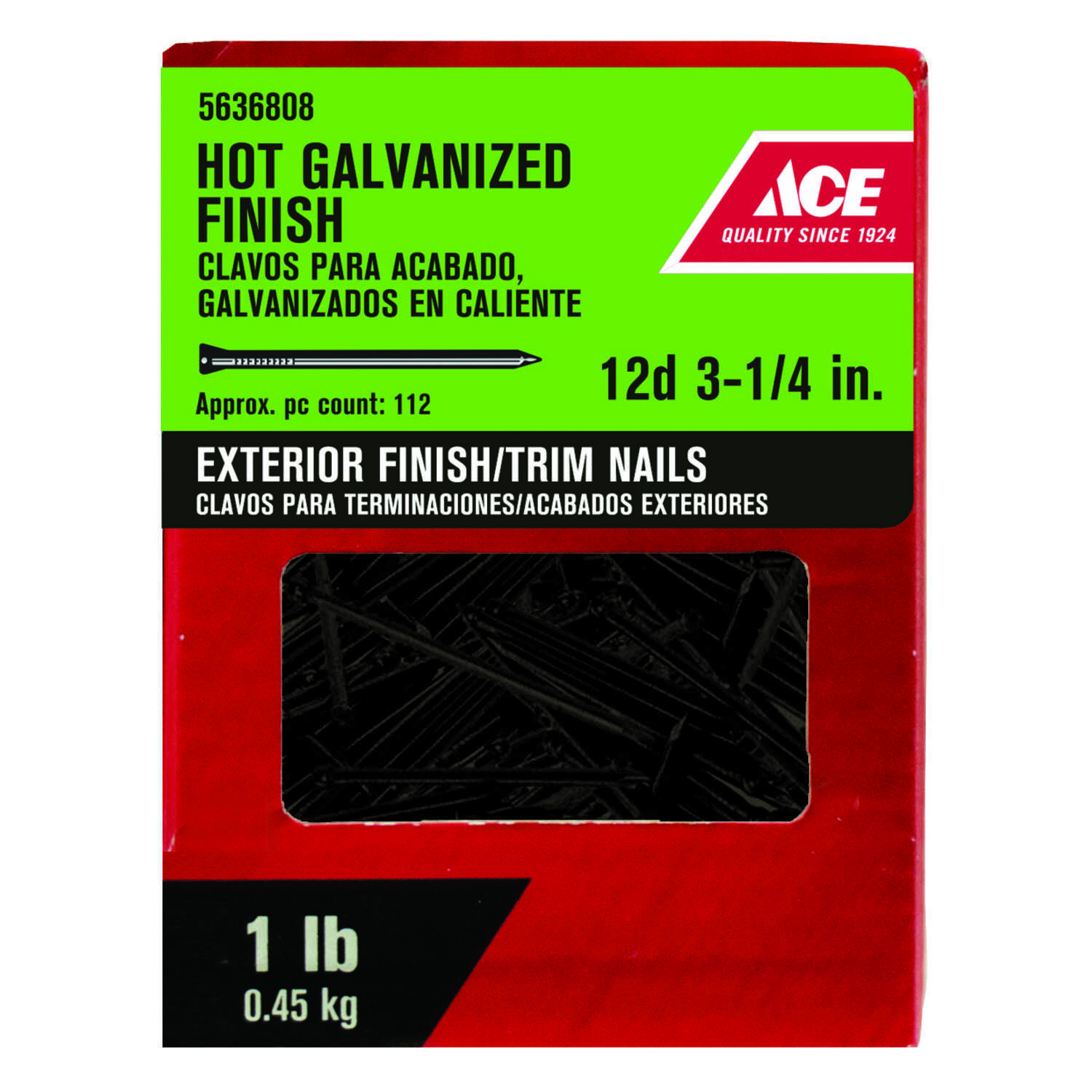 Ace  12D  3.12 in. L Finishing  Steel  Nail  Brad  Smooth  1  1 lb.