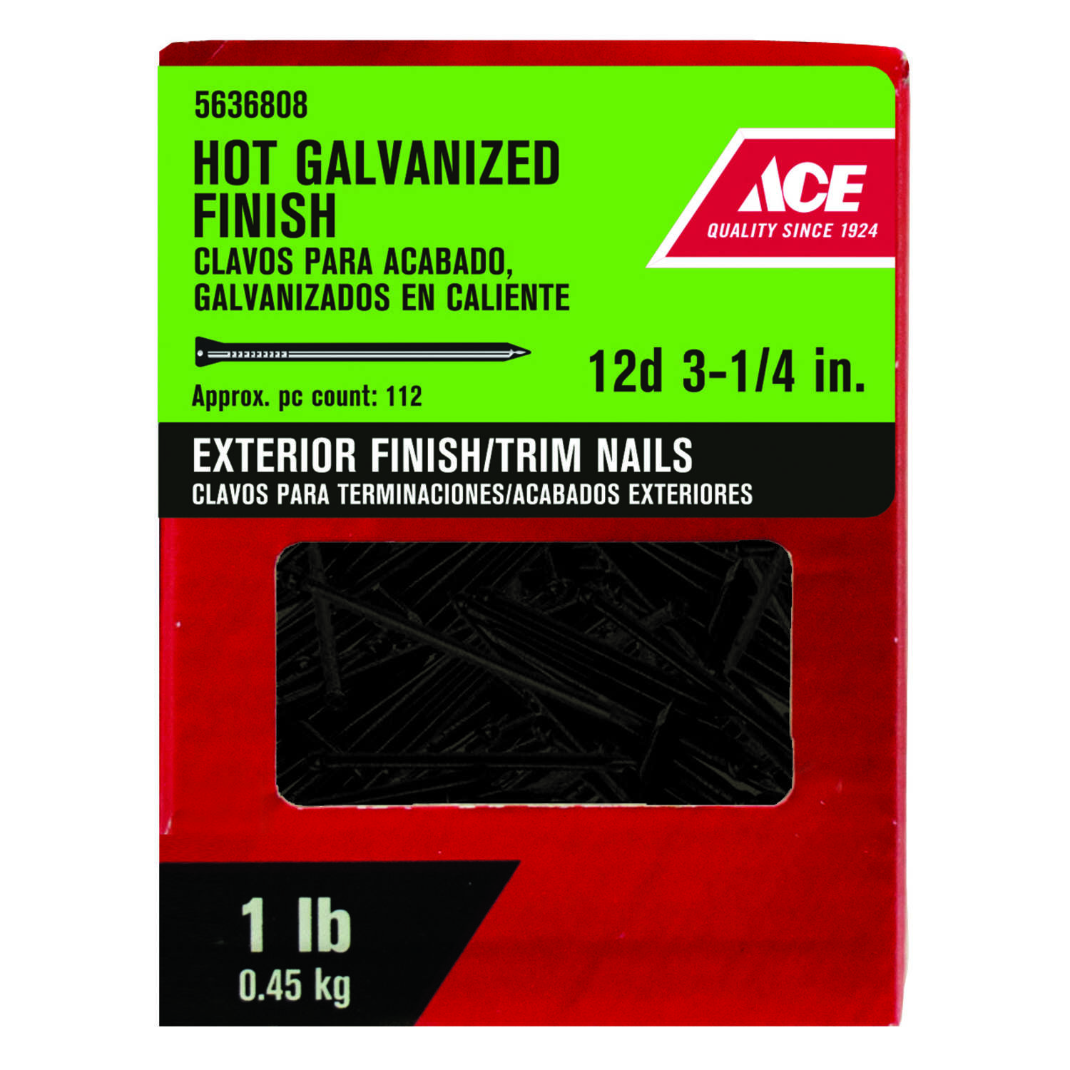 Ace  12D  3.12 in. Finishing  Hot-Dipped Galvanized  Steel  Nail  Brad  1 lb.