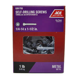 Ace  1/4-14 Sizes  x 1-1/2 in. L Hex  Hex Washer Head Zinc-Plated  Steel  Self- Drilling Screws  1 l