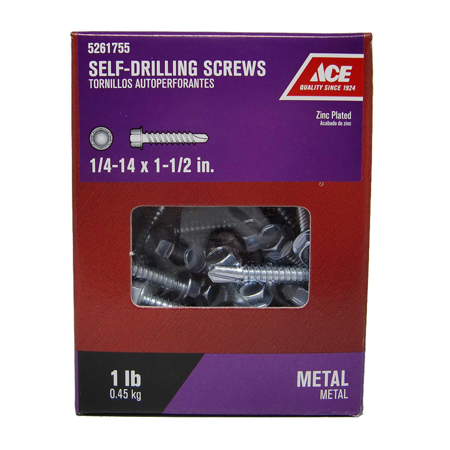 Ace  1/4-14 Sizes  x 1-1/2 in. L Hex Washer Head Zinc-Plated  Steel  Self- Drilling Screws  1 lb.