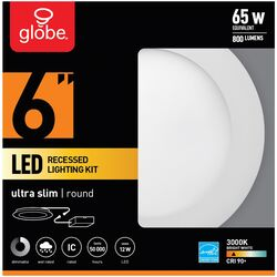 Globe Electric  LED Recessed Lighting Kit  Frost  White  6 in. W Metal  LED  Recessed Downlight  65