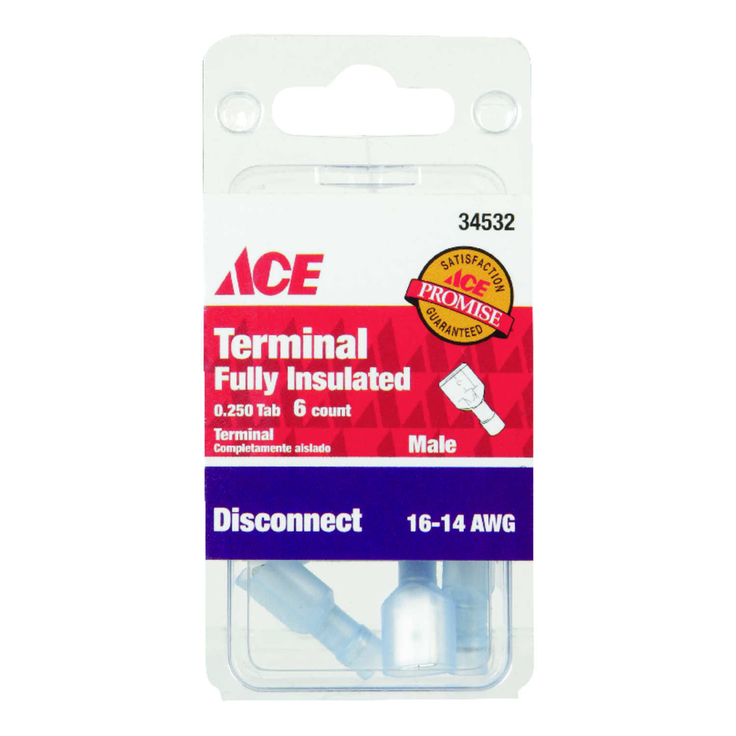 Ace  Insulated Wire  10  16-14 AWG Male Disconnect