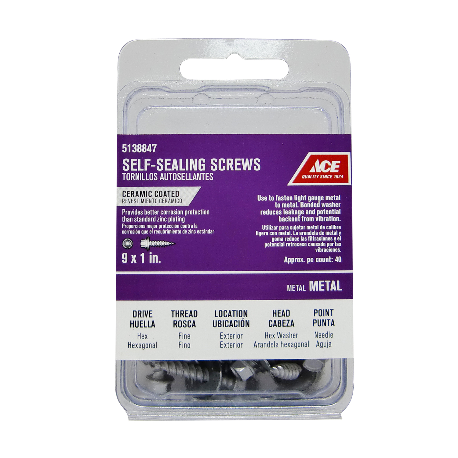 Ace  9 Sizes  x 1 in. L Hex  Hex Washer Head Steel  Self-Sealing Screws  40 per box Ceramic