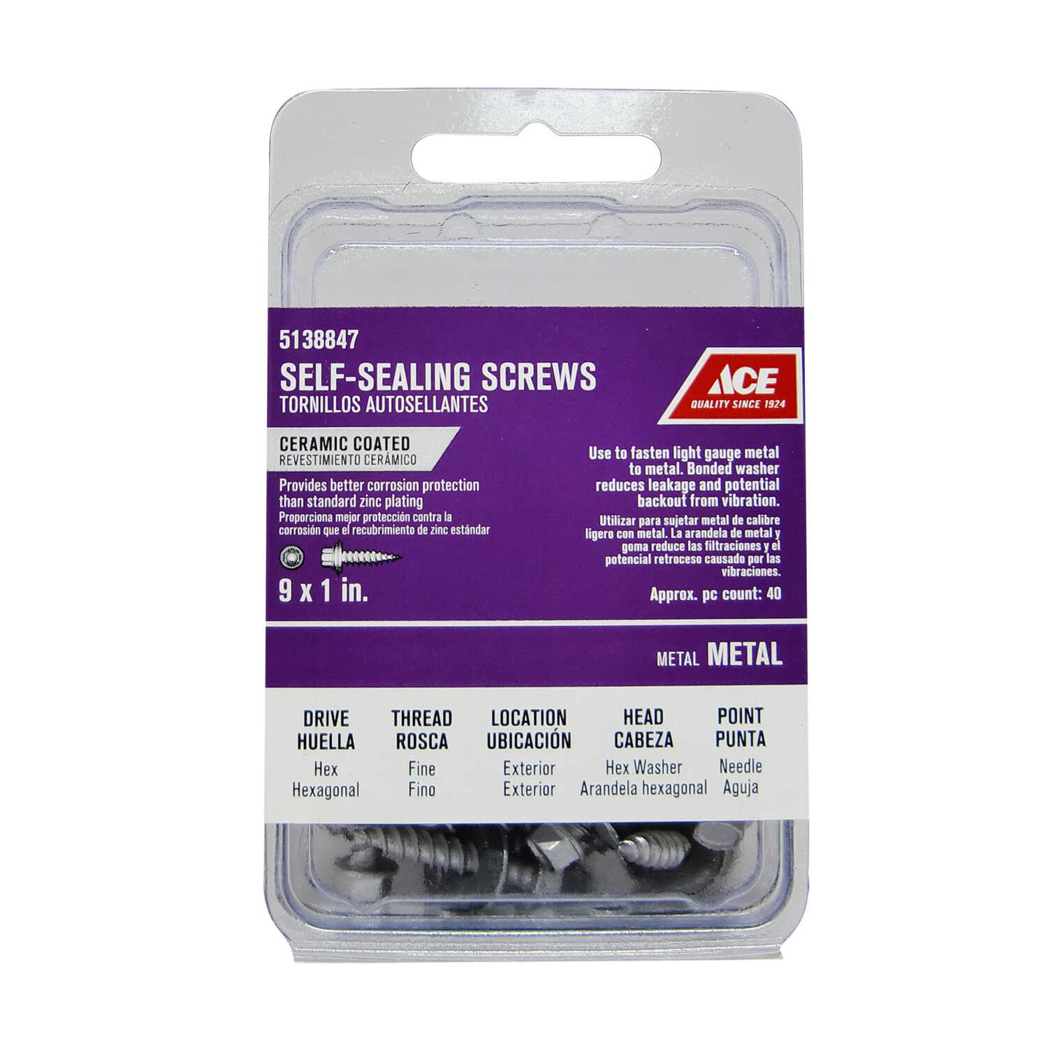 Ace  9 Sizes  x 1 in. L Hex  Hex Washer Head Ceramic  Steel  Self-Sealing Screws