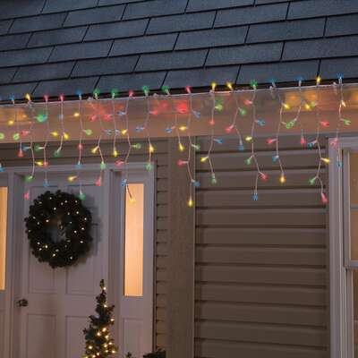 Celebrations  Incandescent  Mini  Multicolored  300 count Icicle Lights  17 ft.