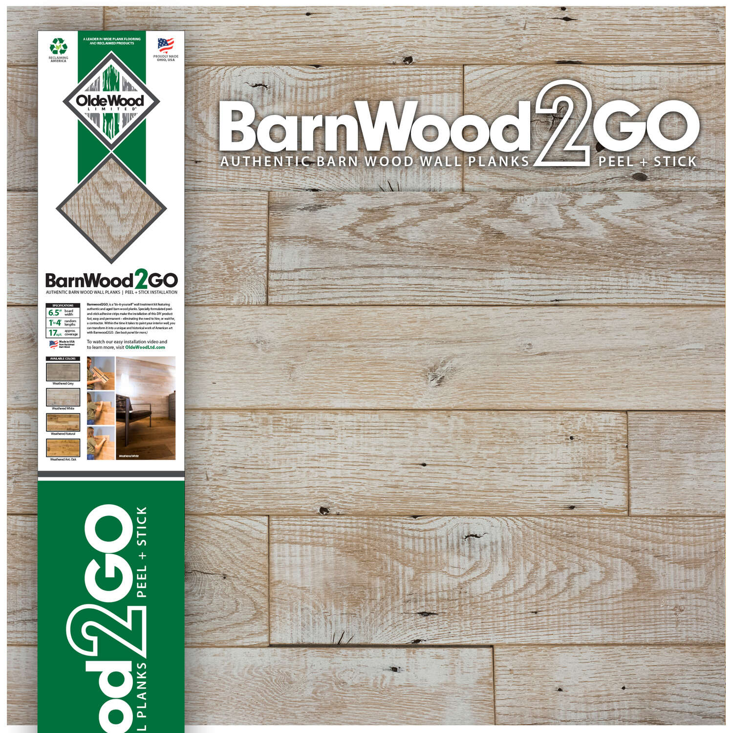 OldeWood Limited  BarnWood2GO  5/16 in. H x 5-1/2 in. W x 48 in. L Weathered  White  Wood  Wall Plan