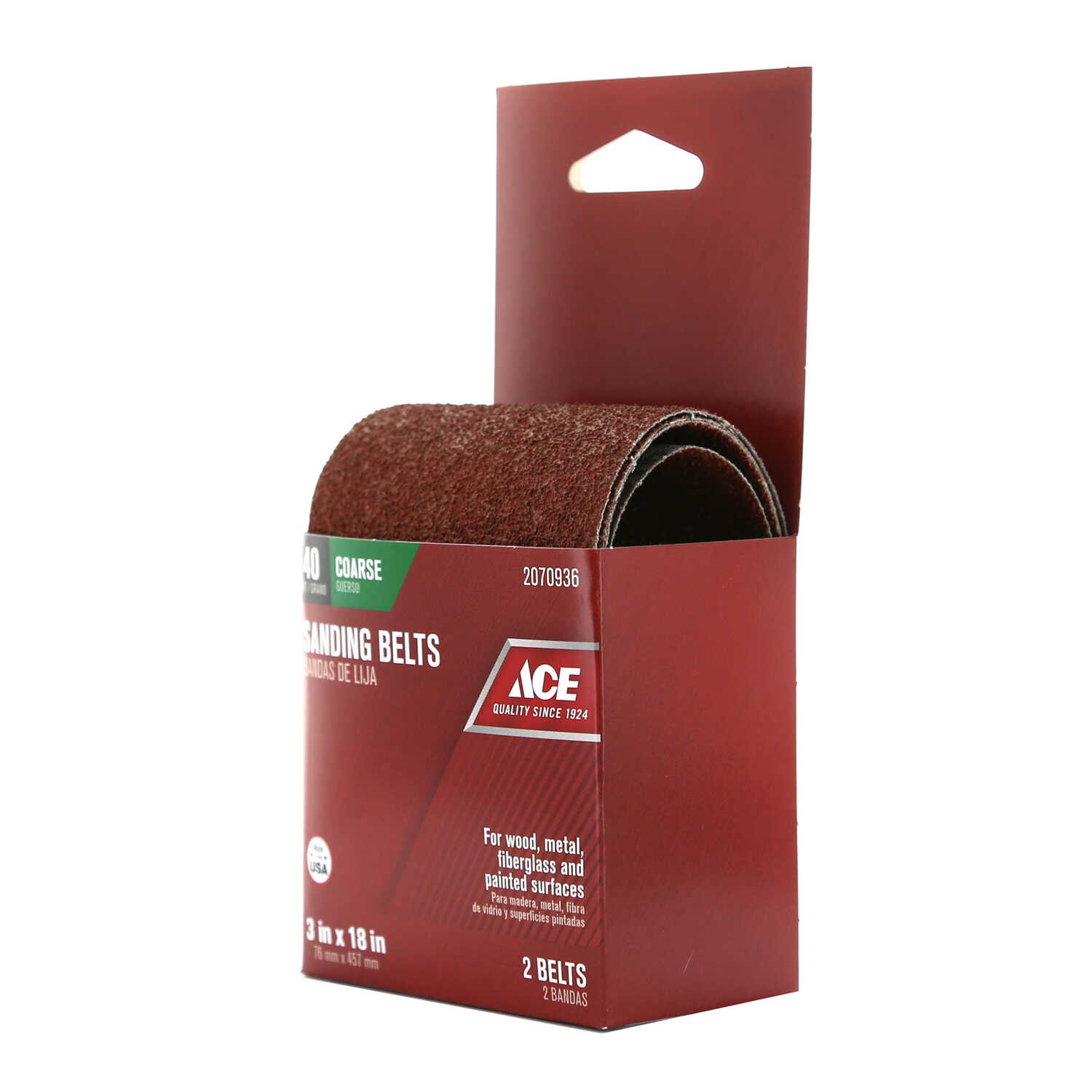 Ace  18 in. L x 3 in. W Aluminum Oxide  Sanding Belt  40 Grit Coarse  2 pc.
