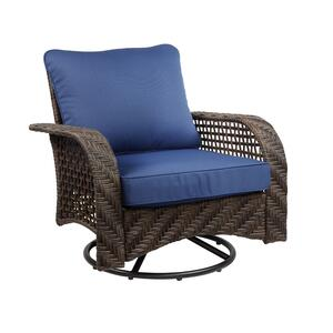 Living Accents  1  Brown  Steel  Charleston  Swivel Chair  Blue