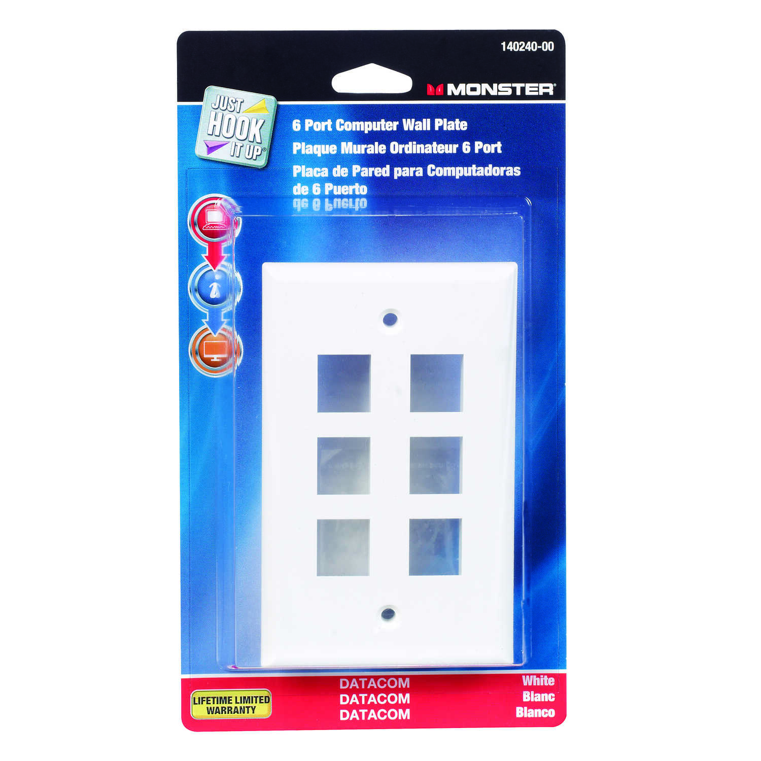 Monster Cable  Just Hook It Up  1 gang White  Plastic  Datacom Wall Plate  1 pk