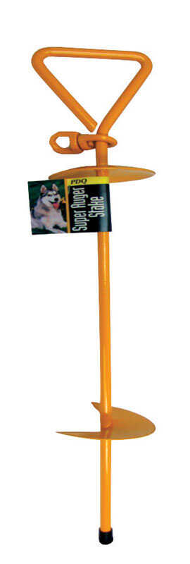 PDQ  Boss Pet  Yellow  Auger Stake  Metal  Dog  Tie Out Stake  Large/X-Large
