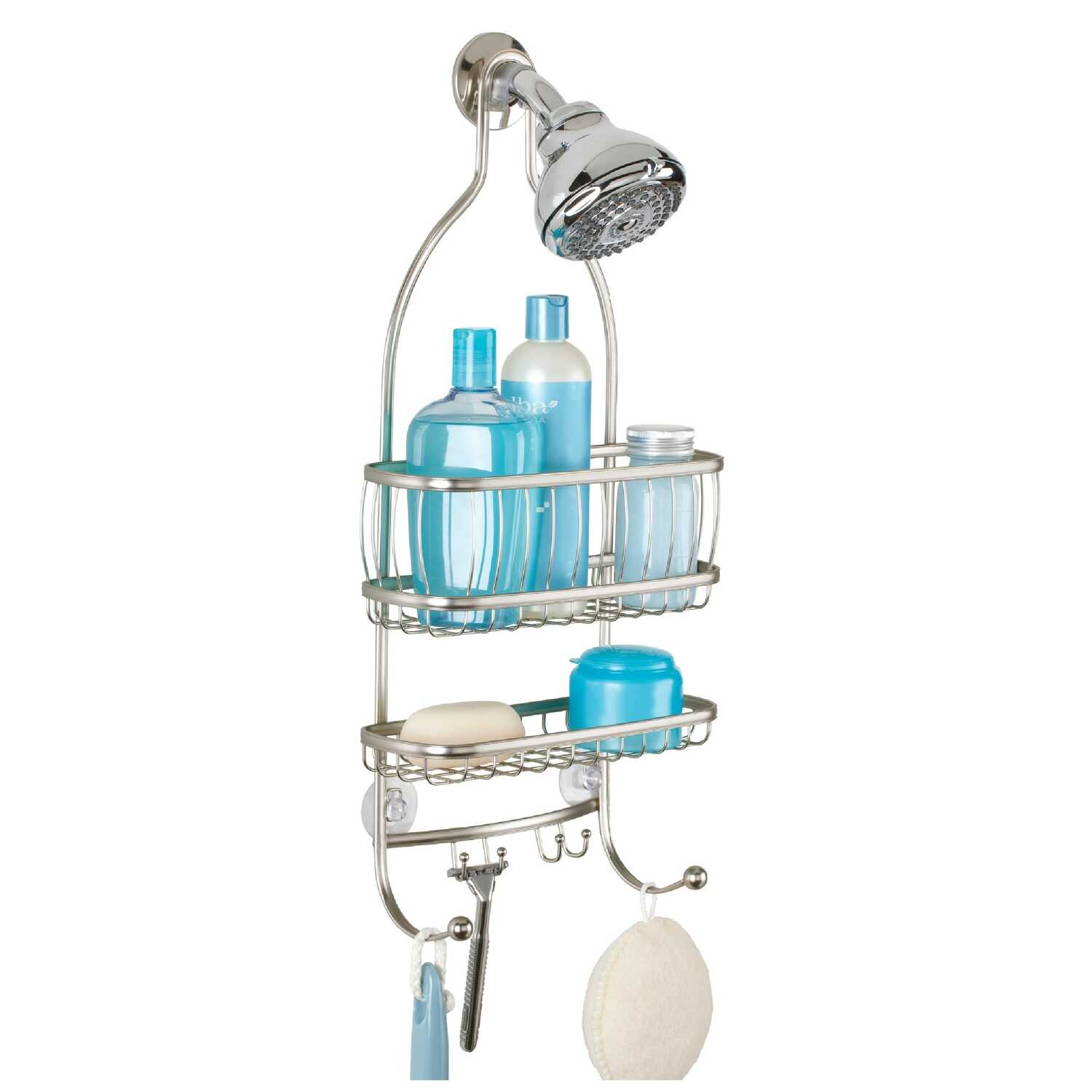 InterDesign  22  H x 4 in. W x 9-3/4 in. L Satin  Silver  Shower Caddy