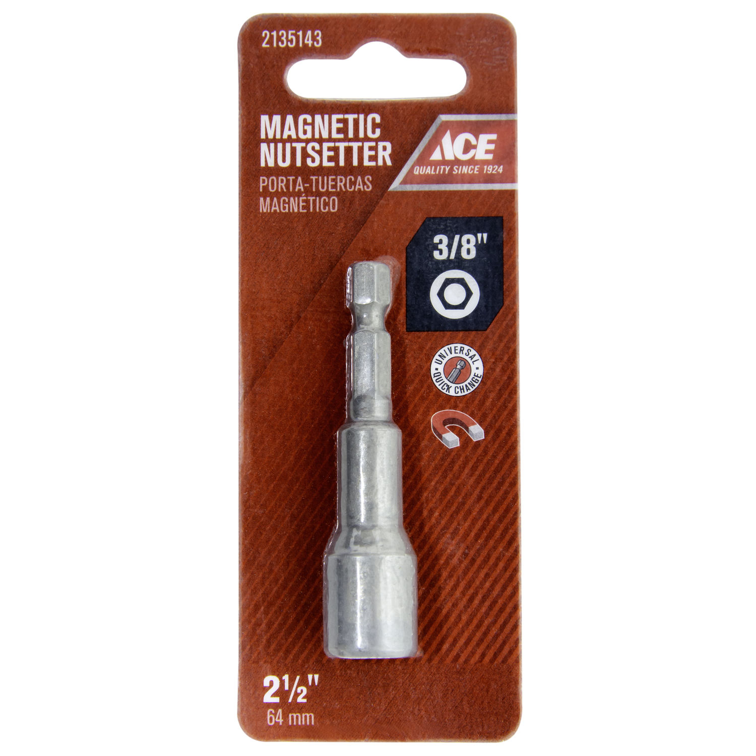 Ace  3/8 in. drive  x 2-1/2 in. L Chrome Vanadium Steel  1/4 in. Quick-Change Hex Shank  Magnetic Nu