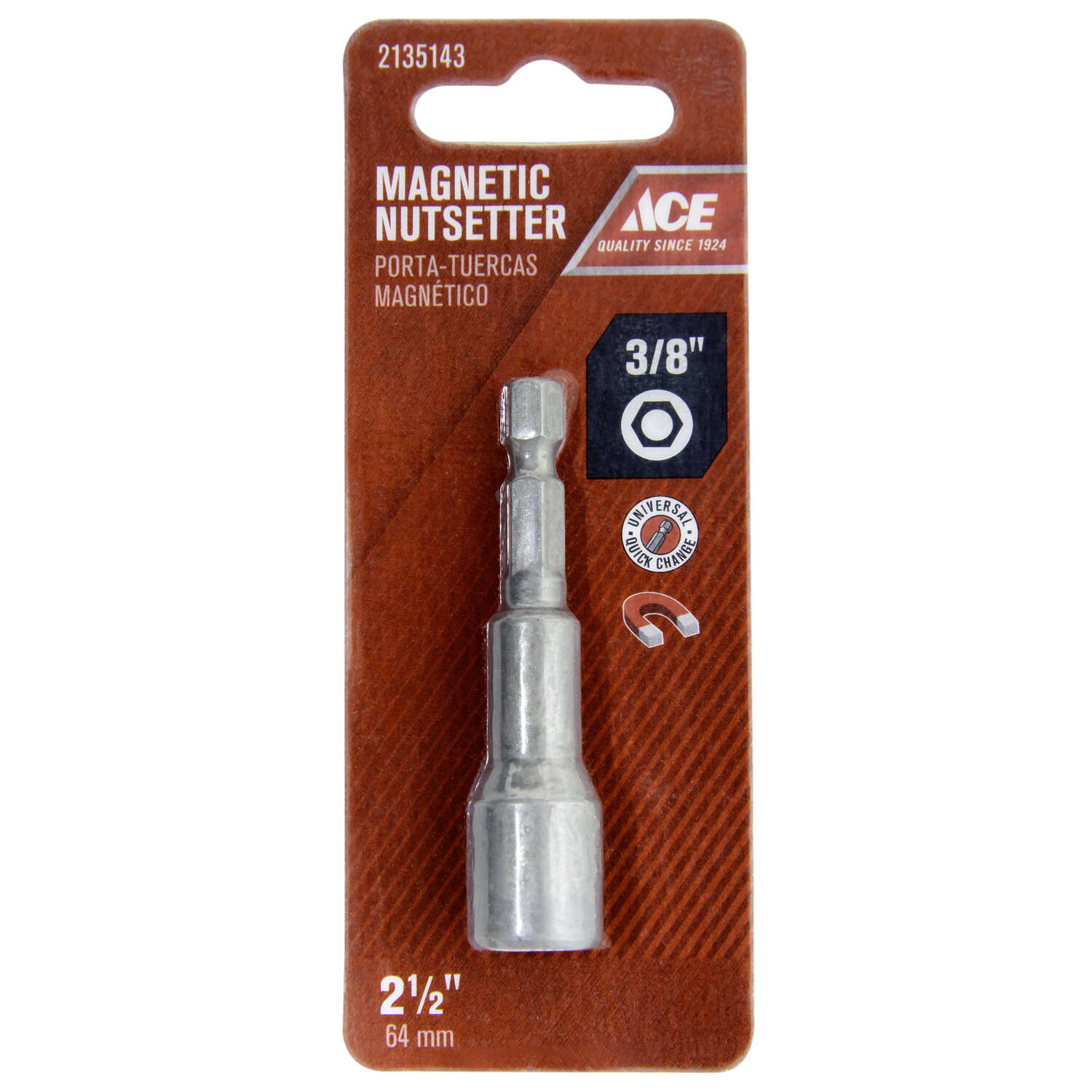 Ace  3/8 in. drive  x 2-1/2 in. L Chrome Vanadium Steel  Magnetic Nut Setter  1 pc.