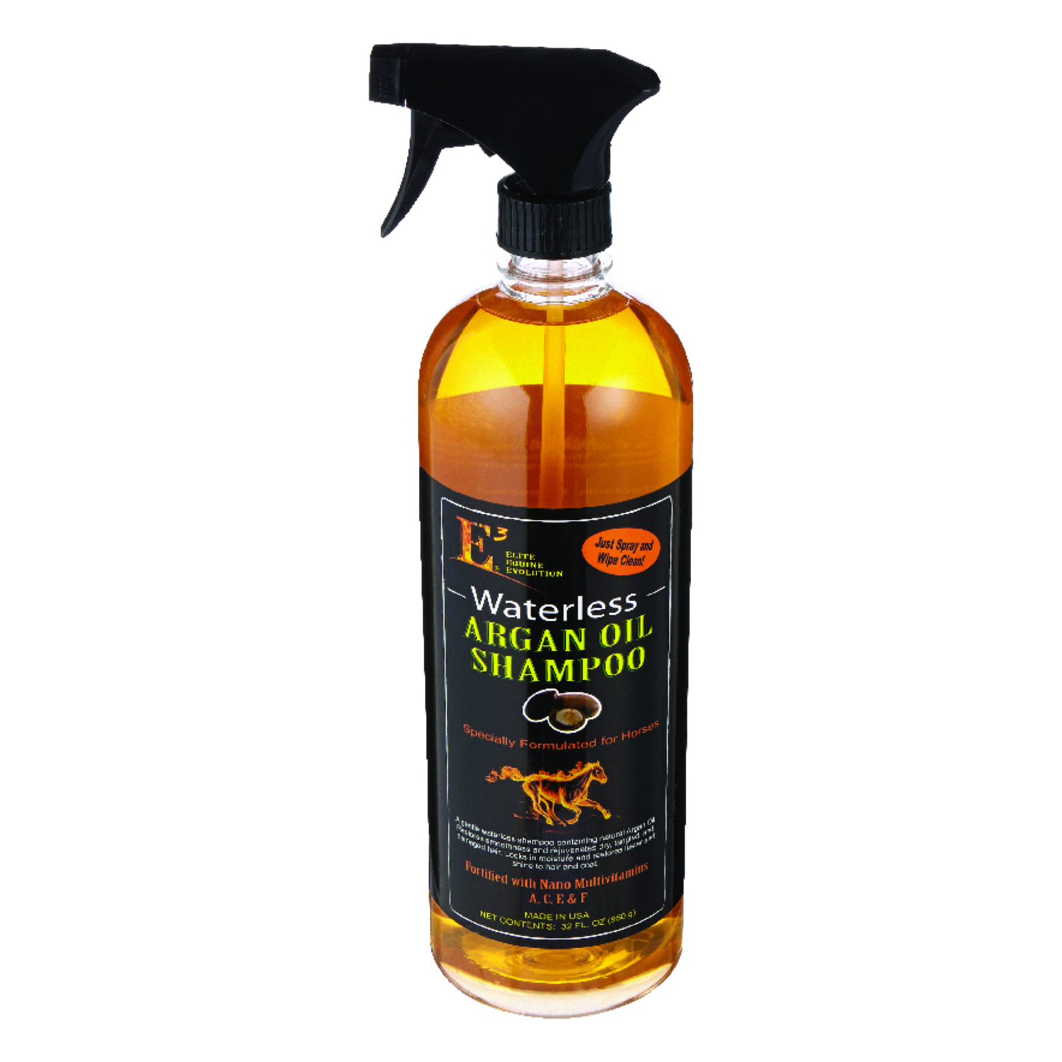 E3  Liquid  Waterless Argan Shampoo  For Horse 32 oz.