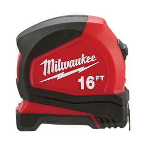 Milwaukee  16 ft. L x 1.6 in. W Compact  Tape Measure  Red  1 pk