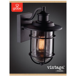 Globe Electric  Turner  1-Light  Natural  Black  Vintage  Wall Sconce