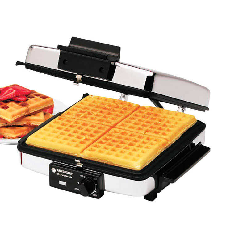Black and Decker  4  Black  Stainless Steel  Waffle Maker