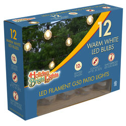 Holiday Bright Lights  LED  G50 Smooth  Outdoor Light Set  Warm White  12 ft. 12 lights
