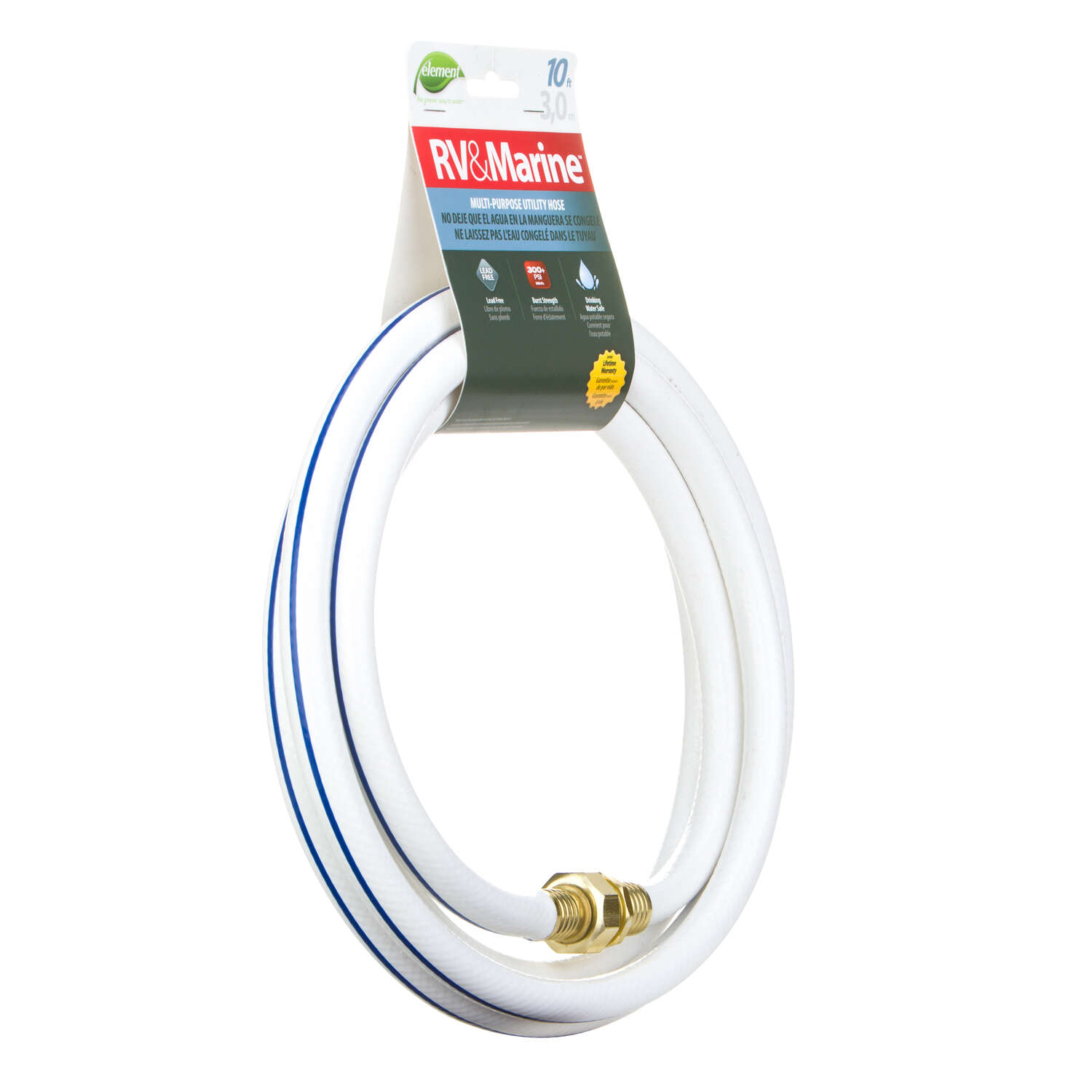 Swan  Element  1/2 in. Dia. x 10 ft. L RV/Marine  White  Hose