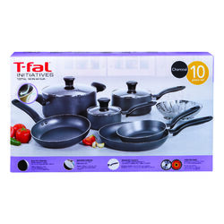 T-Fal  Initiatives  Aluminum  Cookware Set  Gray