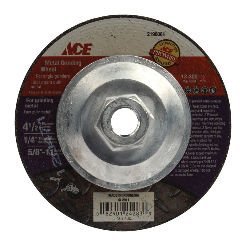 Ace  4-1/2 in. Dia. x 1/4 in. thick  x 5/8 in.   Aluminum Oxide  Metal Grinding Wheel  13300 rpm 1 p