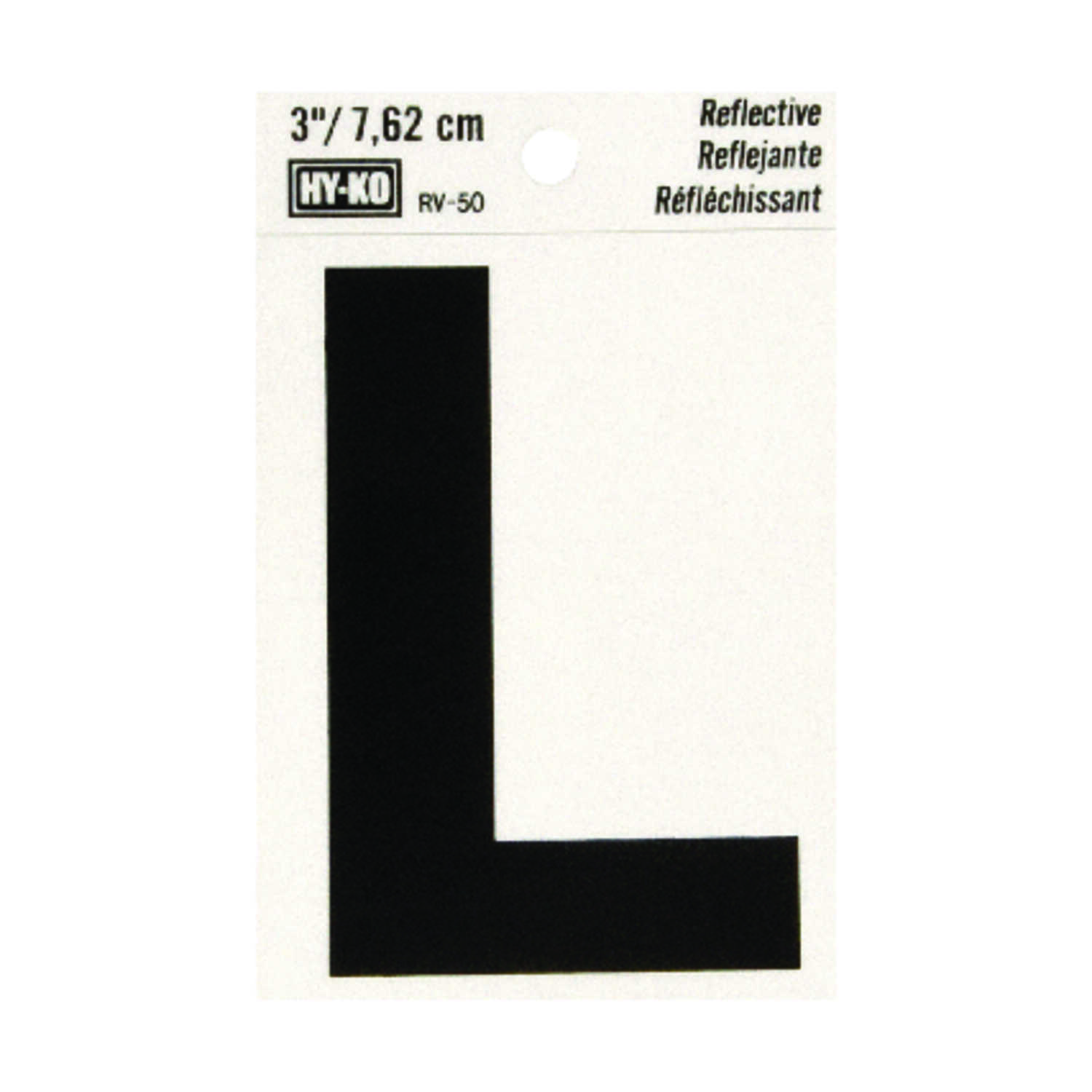 Hy-Ko  3 in. Vinyl  L  Reflective Self-Adhesive  Letter  Black