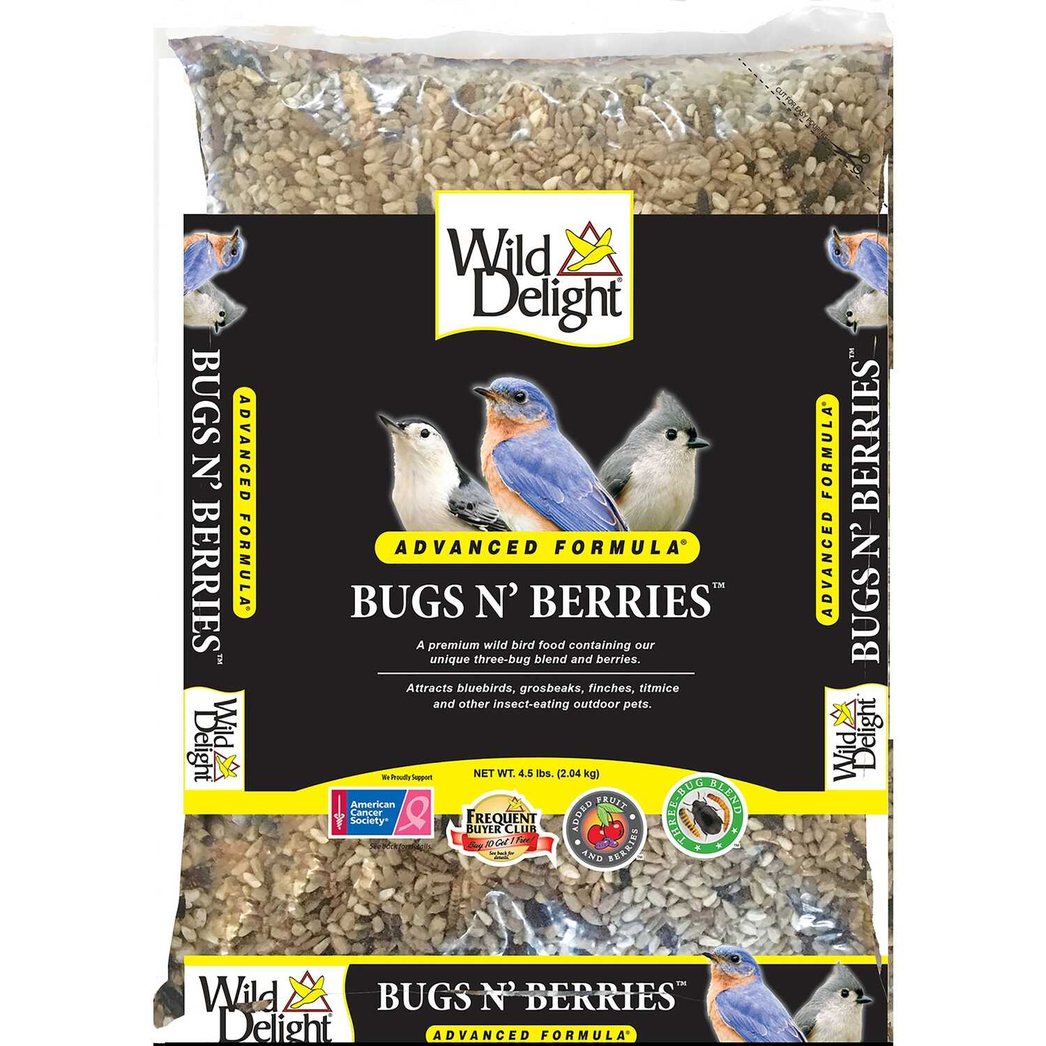 Wild Delight  Bugs N' Berries  Assorted Species  Wild Bird Food  Safflower Seeds  4.5 lb.