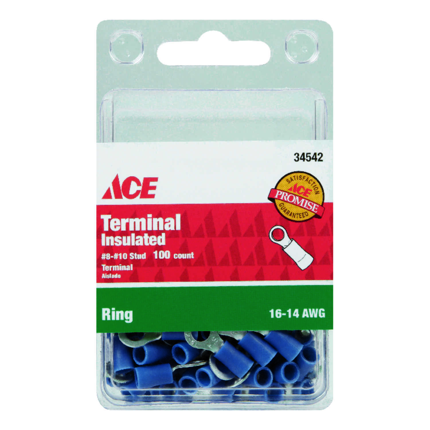 Ace  Insulated Wire  Ring Terminal  Blue  100 pk