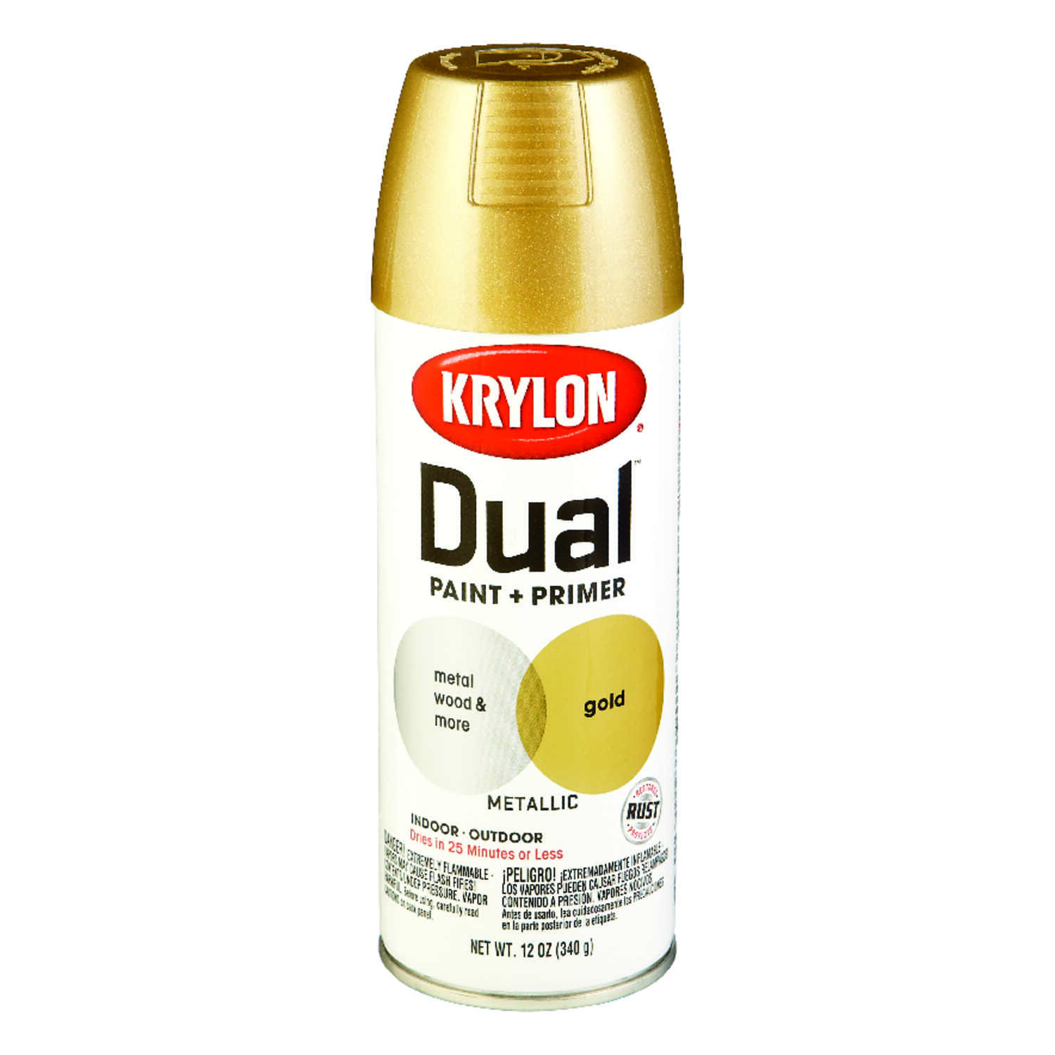 Krylon  Dual Superbond  Brilliant  Gold  Metallic Spray Paint  12 oz.