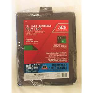 Ace  20 ft. L x 10 ft. W Medium Duty  Tarp  Polyethylene  Brown/Green