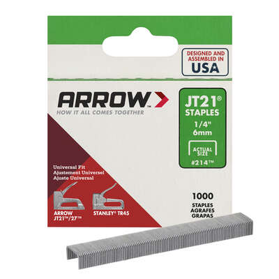 Arrow Fastener  JT21  7/16 in. W x 1/4 in. L 23 Ga. Wide Crown  Light Duty Staples  1000 pk
