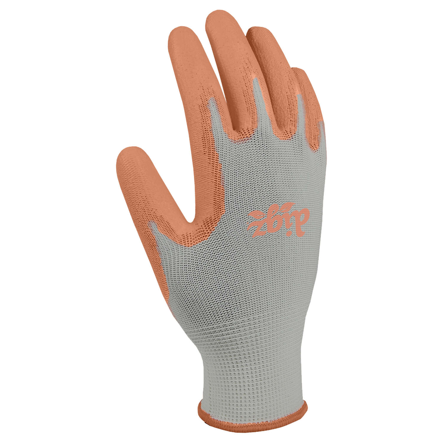 Digz  M  Polyurethane Coating  Stretch Fit  Gray/Orange  Gardening Gloves