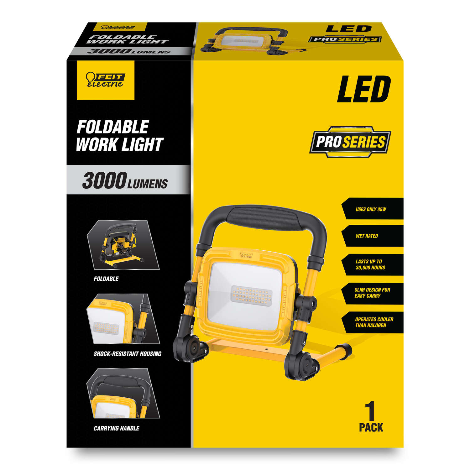 Feit Electric  Pro Series  3000 lumens LED  Corded  Stand (H or Scissor)  Work Light
