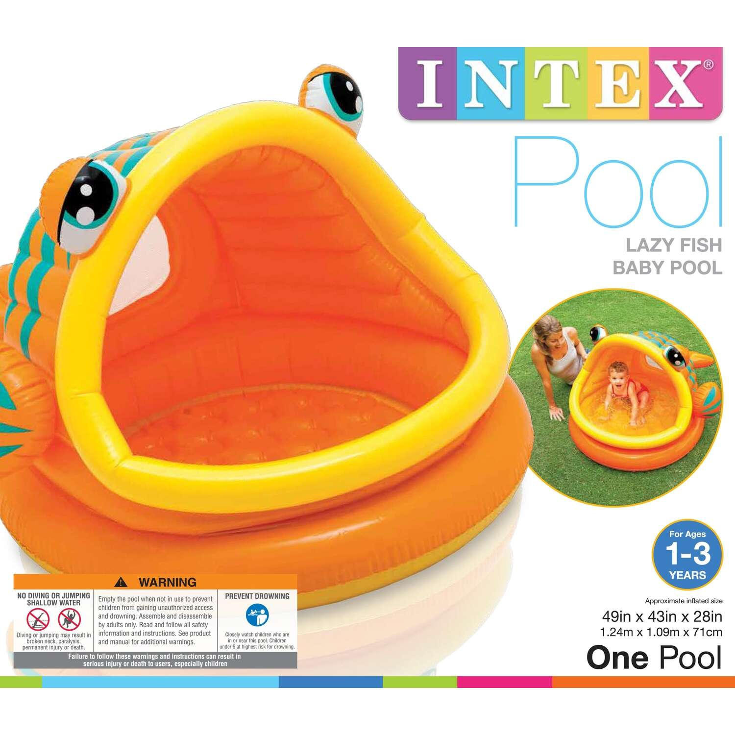 Intex Inflatable Baby Pool 49 in. x 43 in. x 28 in. 14 gal.