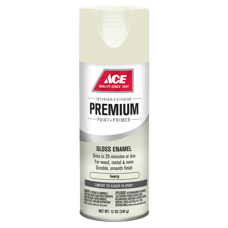 Ace  Premium  Gloss  Ivory  Enamel Spray Paint  12 oz.