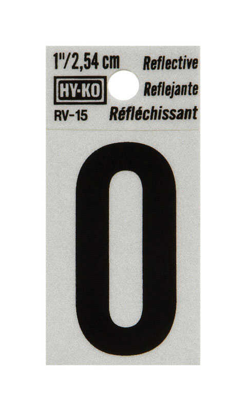 Hy-Ko  1 in. Reflective Vinyl  Black  O  Letter  Self-Adhesive