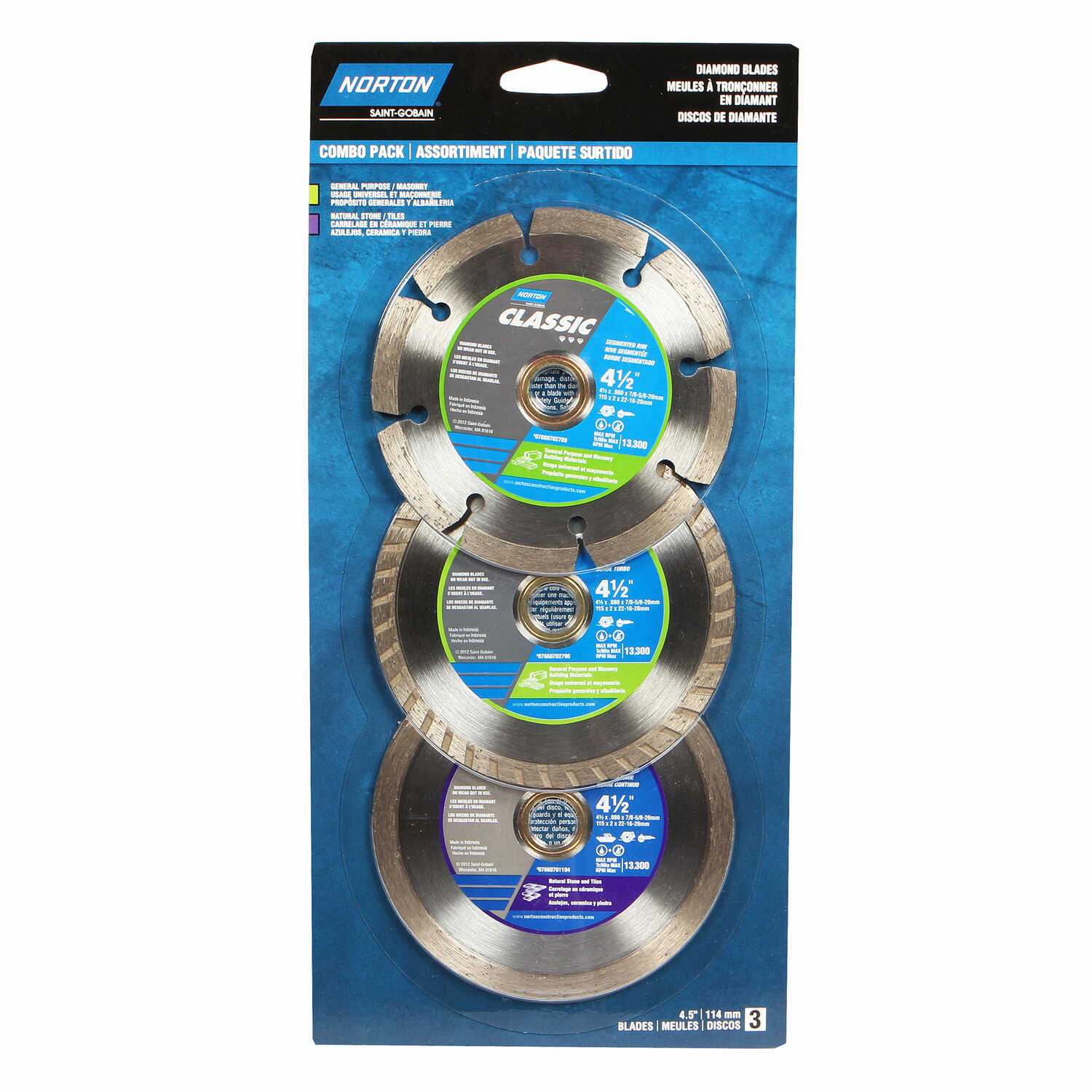 Norton  Classic  4-1/2  Diamond  Saw Blade Combo Pack  0.08 in.  5/8 and 7/8 in.  3 pk