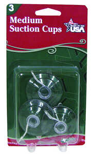 Adams  Medium Suction Cup  Hooks  Clear  3 pk Rubber