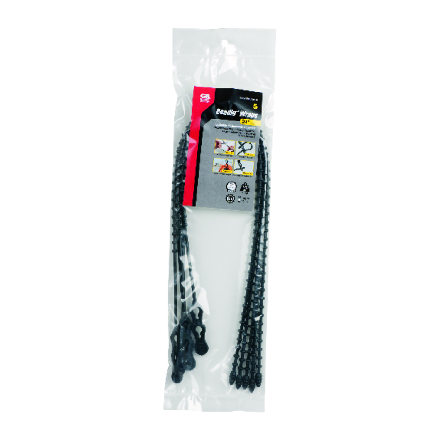 Gardner Bender  Beadle Wrap  24 in. L Black  Beaded Cable Tie  5 pk