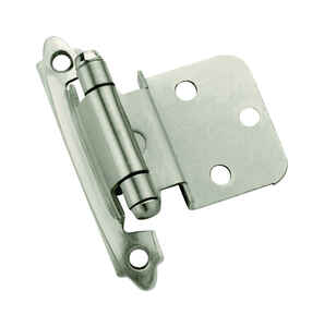 Amerock  2 in. W x 2-3/4 in. L Satin Nickel  Steel  Self-Closing Hinge  10 pk