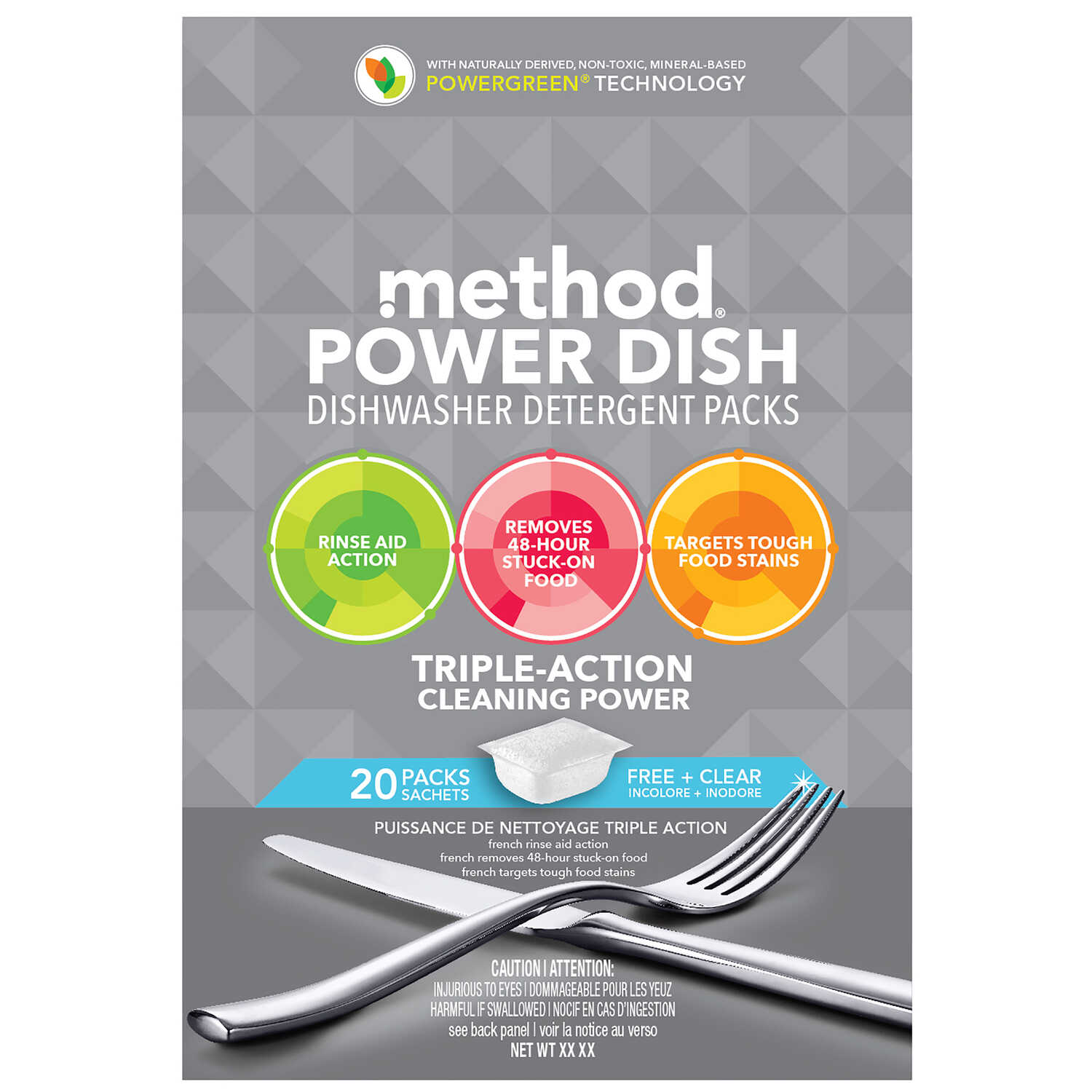 Method  Power Dish  Free & Clear Scent Pods  Dishwasher Detergent  20 pk